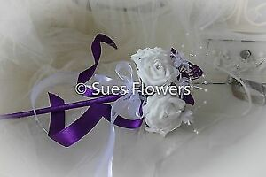 Flower Girl Wand in Cadburys Purple and White or Ivory