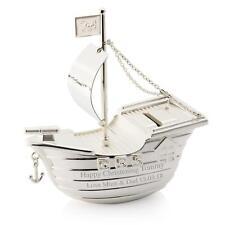 Personalizzato Argento Pirata Ship / Barca Salvadanaio per Births Battesimo