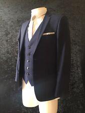 BURTON Mens Navy 3 Piece Suit Jacket 36 - s Trousers 32 - s Waistcoat  - Small