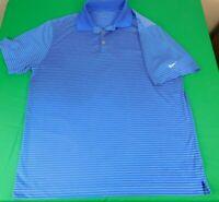Nike Men's Golf Shirt Dri Fit Short Sleeve Striped Size L
