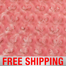 """Rose Cuddle Minky Fabric Rosebuds Rosette Coral 60"""" Wide Free Shipping 18510"""