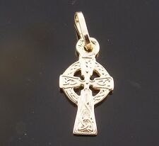 Brand New Solid 9ct Yellow Gold Celtic Cross Pendant