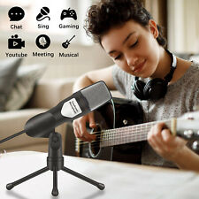 Pro Condenser Microphone w/ Tripod Stand For Game Chat Audio Recording Computer