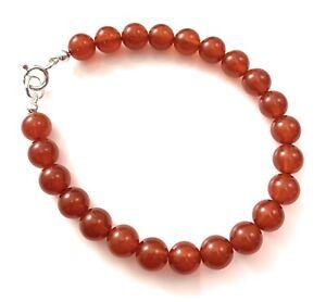 Mens Sterling Silver Orange Carnelian Bracelet