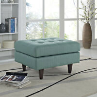 Mid-Century Modern Tufted Fabric Upholstered Square Ottoman in Laguna