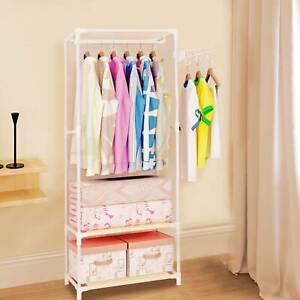 Clothes Rail Bedroom Open Wardrobe Steel Stand Storage Rack Shoe Shelves Unit UK