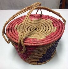 EARLY CALIFORNIA   COILED BASKET WITH LID/HANDLES
