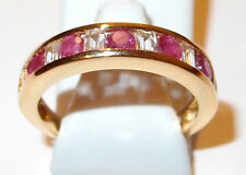 African Ruby and White Topaz Band in gold overlay Sterling Silver, Size O.