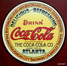 Coke Round Keg Label,Drink Coca Cola,Tin Metal Sign Art,Soda Pop,Made In USA