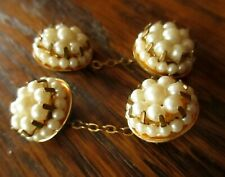 Vintage Estate Faux Pearl Chained French Deco Cufflinks
