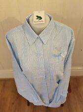 Ladies Grenouille Seersucker Cotton Long Sleeve Shirt, XL, blue butterfly