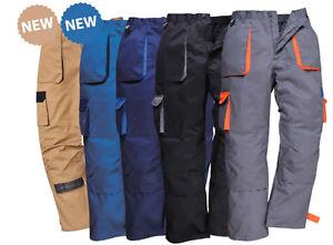 Mens combat Trousers Knee Pad Pockets HalfElastic Waist Work Pants PORTWEST TX11
