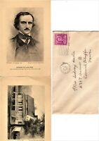 1916 Poe Cottage & Image Vintage Postcards Edgar Allan Poe & 3c Stamp
