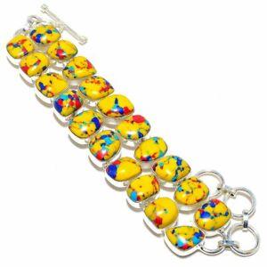 "Mosaic Balloon Jasper Gemstone 925 Sterling Silver Bracelet 6-9"""