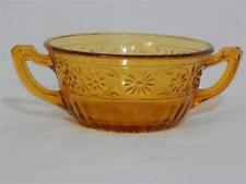 CREAM SOUP BOWL Double Handle  Indiana Glass DAISY AMBER SANDWICH  Circa 1940's