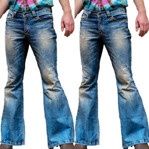 Men's Retro 80s 90s Flared Bootcut Trousers Long Pants Slim Denim Jeans Bottoms