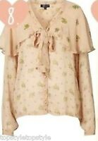 TOPSHOP CAPE SLEEVE PUSSY BOW PEACH COLOR BLOUSE   6  8 10 12 14  RETAIL £38.50