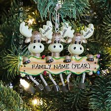 Moose Deer Family of 3 Personalized Christmas Thee Ornament