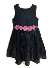 S.OLIVER Pailletten Kleid mit Blumen REG Gr. 122 in dunkelblau NEU