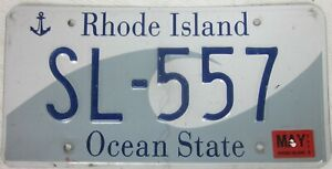RHODE ISLAND licence/number plate US/United States/USA/American SL 557
