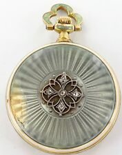 .RARE ANTIQUE 18K GOLD & 5 DIAMOND TIFFANY & CO 17J LADIES POCKET WATCH BY HAAS