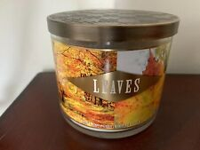 Bath and Body Works Candle 14.5 oz. 3-WICK Leaves NEW Fall Scent ~