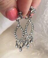 """Vintage Clear Crystal Rhinestone 2"""" Dangle Earrings. Elegant. FREE SHP"""