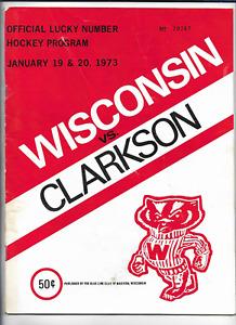 January 19-20 1973 WISCONSIN vs CLARKSON College Hockey Program (JS)