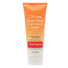 Neutrogena  Oil Free Acne Cream Wash Cleanser 6.7 oz ~ LOT OF 2 ~ New & Sealed