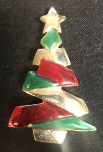 Danecraft vintage gold toned red and green Christmas tree holiday brooch pin