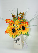 Large Ceramic Jug with Yellow Sunflowers, Lillies and Berries
