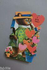 Vtg Valentine Card 60's 70's Mod Dressed Gardening Gopher Ground Squirrel Unused