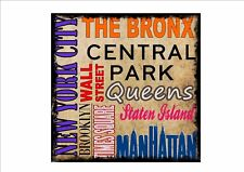 New York Reproduction Metal Sign The Bronx Times Square Manhattan Wall Street