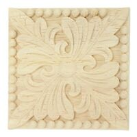 Natural Wood Appliques Square Flower Carving Decals Decorative Wooden B3F7