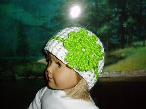 """White Crochet Beanie Hat Green Flower 18"""" Doll Clothes Fits American Girl"""