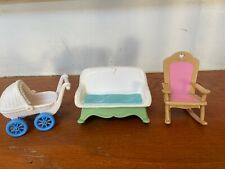Fisher Price Loving Family Dollhouse Furniture Two Rockers And Baby Buggy 1993