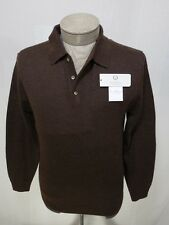 Turnbury Mens 100% Wool Button Collar Polo Knit Sweater Pullover Brown S Small