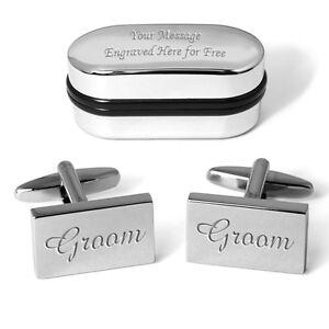 Groom Wedding Cufflinks Personalised Engraved Gift Box Quality Custom Present