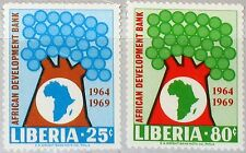 LIBERIA 1969 723-24 497-98 5th Ann African Development Bank Map Karte Tree MNH