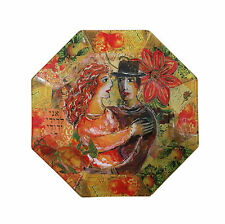 Jewish Art, Wedding Gift,Hexagon, A Couple is Hugging,Colorful Flowers&Fruits *
