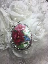christmas GIFT Hummingbird Rose Locket Antique Silver Necklace Porcelain Cameo