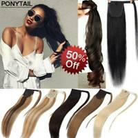 AAA 100% Human Hair Real Ponytail Clip In Wrap Around Pony Tail Extensions 100G
