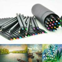 24 Colors Oil Art Pencils Sketching Drawing Artist hot Coloured Adult G2F2