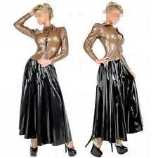 Gummi Latex 100% Rubber Black Skirts with Coffee Shirt Suit  Size XXS-XXL
