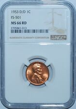 1953 D/D NGC MS66RD FS-501 Red RPM Repunched Mint Mark Lincoln Cent