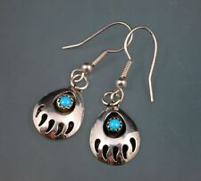 Indian Sterling Silver 925 Turquoise Shadowbox Bear Paw Classic Dangle Earrings