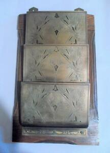 Vintage Wood and Brass Wall Hanging Letter Rack 12666