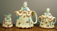 The Little Old Lady Teapot, Creamer and Sugar Bowl Vintage Made in England Roses