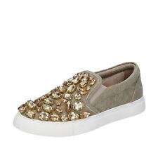scarpe donna SARA LOPEZ 35 EU slip on mocassini beige tela pietre BT991-35