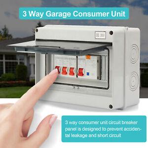 3 Way Garage Caravan Consumer Unit 63A 30mA RCD+3MCB 6A/16A/32A IP65 Protection